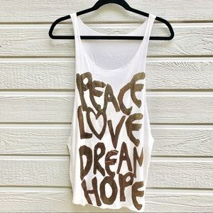 Peace Love Dream Hope Muscle Tank Top - Small
